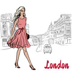 woman walking in london vector image