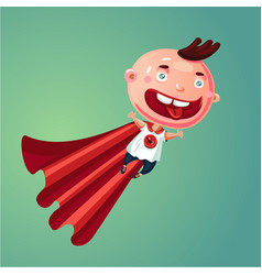 Wonder baby super boy funny little child in vector