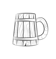 wooden beer cup vector image