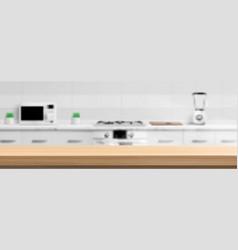 Wooden counter top on kitchen blur background vector