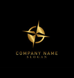 compass gold color logo vector image vector image