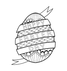 Hand drawn artistic Easter egg for adult coloring vector image vector image