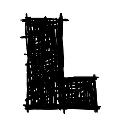 L - hand drawn character sketch font vector image vector image