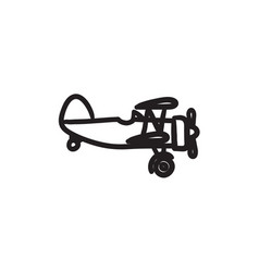 Propeller plane sketch icon vector