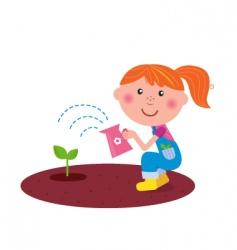 small gardener watering plant vector image vector image