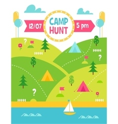 Summer Camp Hunt or Quest Poster vector image vector image