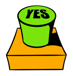 yes green button icon cartoon vector image