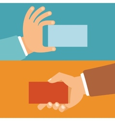 Businessman hands holding id cards vector
