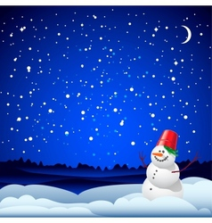 Christmas and New Year card with snowman vector image