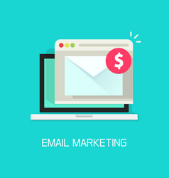 email with income money received in laptop vector image vector image