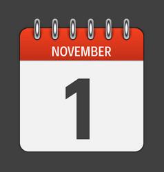 november 1 calendar daily icon vector image