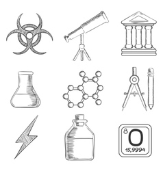 Science and chemistry sketches icons set vector image