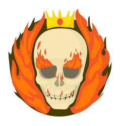 skull on fire icon cartoon style vector image