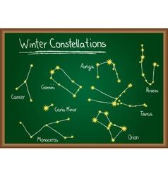 Winter Constellations on chalkboard vector image
