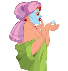 Cartoon young woman in robe and blue spa face mask vector image vector image