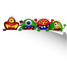 Monster cartoon with blank sign vector image vector image