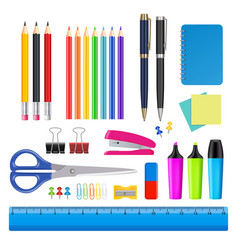 school and office supplies icon set vector image