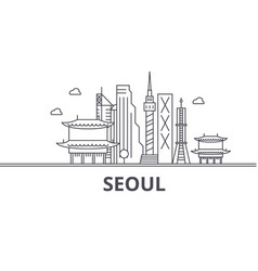 seoul architecture line skyline vector image