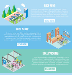 city bike concept banners in isometric vector image vector image