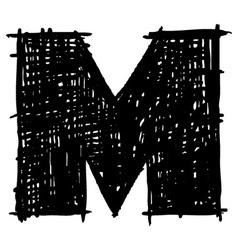 M - hand drawn character sketch font vector image vector image