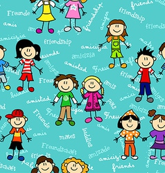 Seamless kids friendship pattern2 vector image vector image