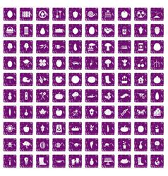 100 garden icons set grunge purple vector