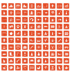 100 preschool education icons set grunge orange vector