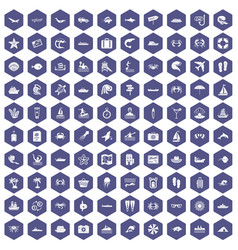 100 sea life icons hexagon purple vector