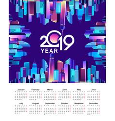 2019 cityscape calendar city vector image