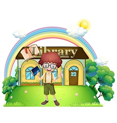 A boy in front of the library in the hilltop vector image vector image