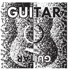 abstract background with guitar and notes vector image