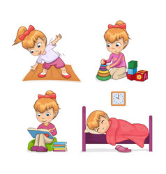 Active lifestyle of girl set vector