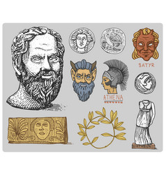ancient greece antique symbols socrates head vector image