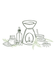 Aromatherapy aroma lamp and essential oils sketch vector
