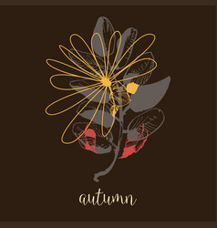 autumn artistic banner dry leaves fall background vector image