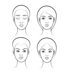 Beautiful female face set vector