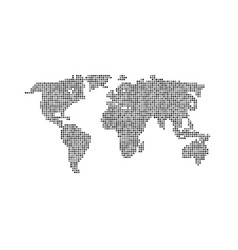 black color world map isolated on white vector image