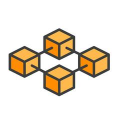 blockchain line icon simple minimal pictogram vector image