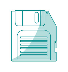 Blue shading silhouette of floppy disk vector