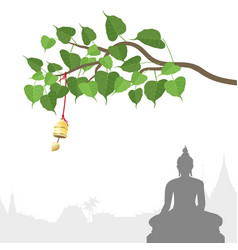 Buddha statue and bodhi tree with golden bell of vector