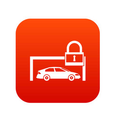 car and padlock icon digital red vector image