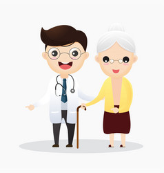 caring for elderly doctor and and old woman vector image
