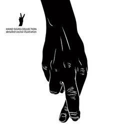 Cheater hand with crossed fingers detailed black vector image