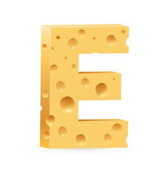 Cheese font e letter on white vector