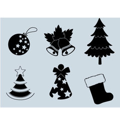 Christmas set of icons collection silhouette 3 vector image