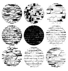 Circular grunge texture set vector