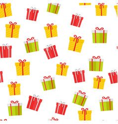 Colorful gift boxes cartoon seamless pattern vector