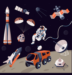 Cosmos exploration machinery and astronaut vector