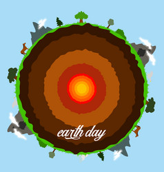 Cut earth with its core and landscapes vector