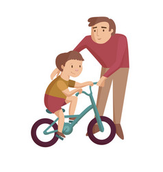 Dad with son cartoon vector